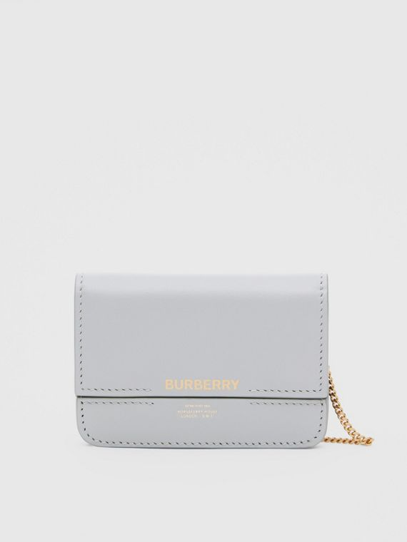 Leather Card Case with Chain Strap in Heather Melange