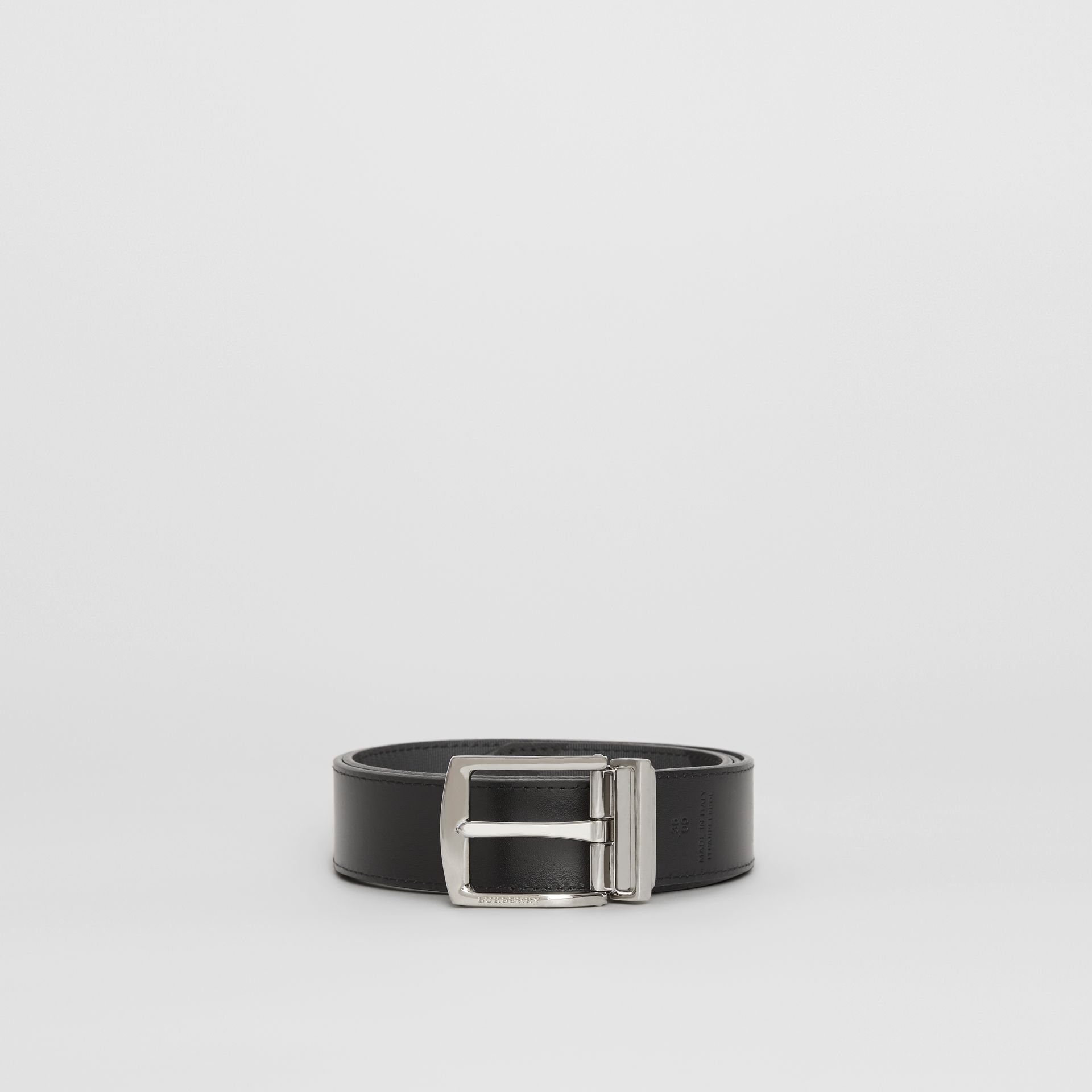 Reversible London Check and Leather Belt in Charcoal/black - Men | Burberry - gallery image 6