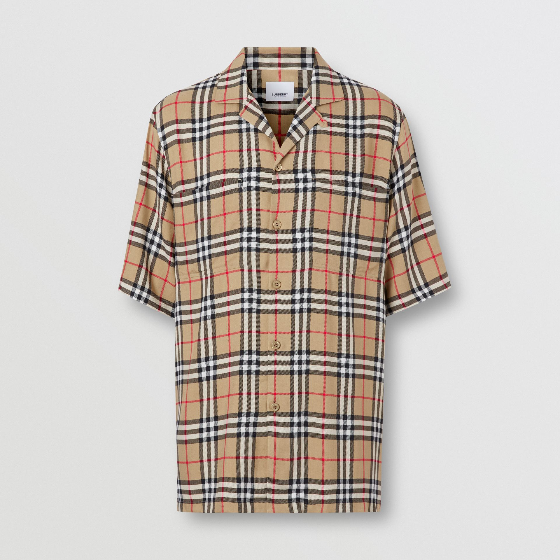 Short-sleeve Vintage Check Twill Shirt in Archive Beige - Men | Burberry - gallery image 3