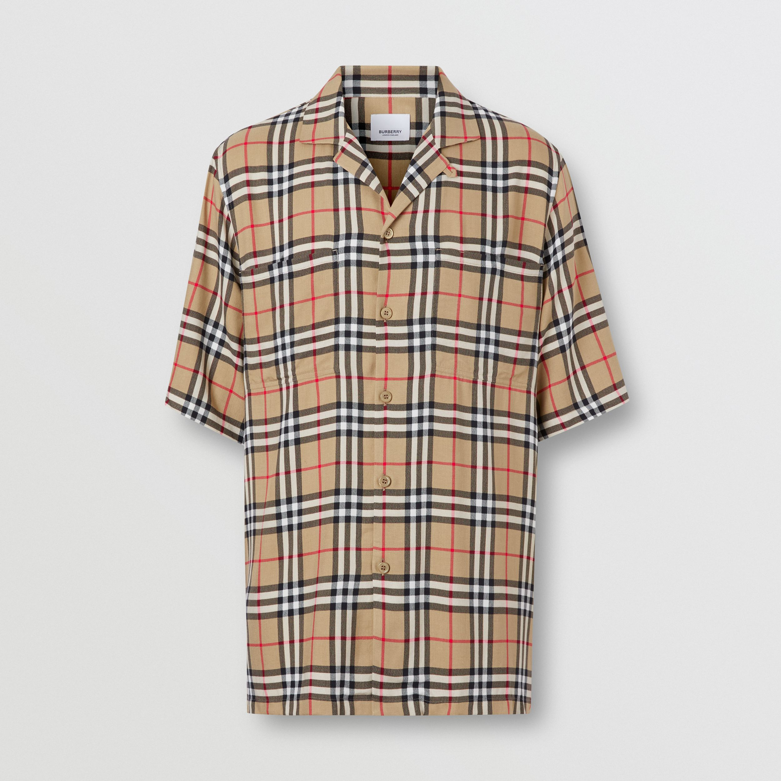 Short-sleeve Vintage Check Twill Shirt in Archive Beige - Men | Burberry - 4