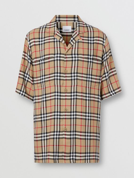 Short-sleeve Vintage Check Twill Shirt in Archive Beige