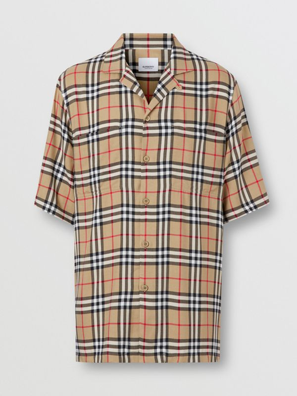 Short-sleeve Vintage Check Twill Shirt in Archive Beige - Men | Burberry - cell image 3