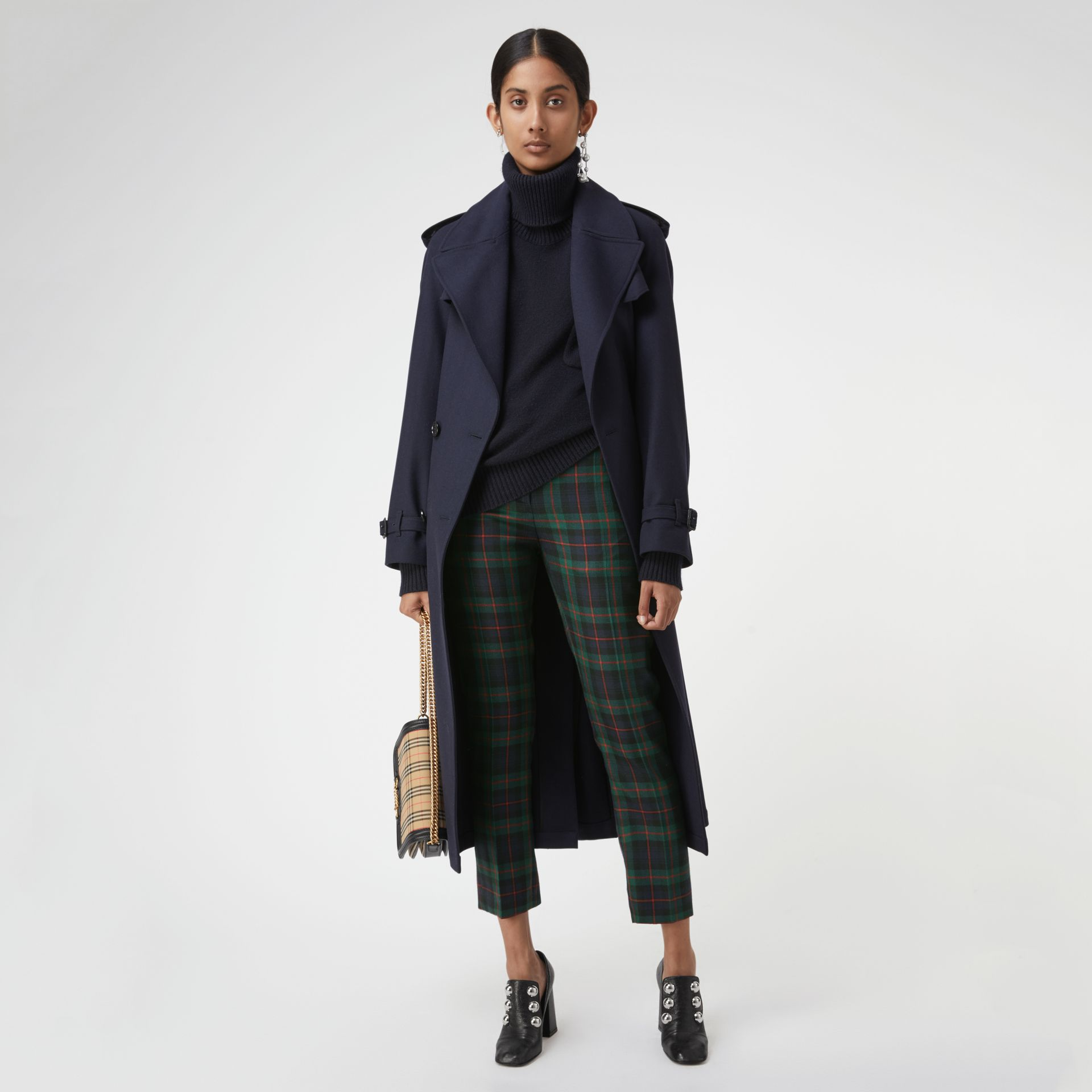 Zip Detail Check Wool Blend Trousers in Navy - Women | Burberry - gallery image 0