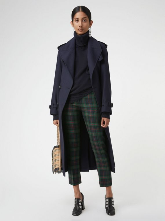 Zip Detail Check Wool Blend Trousers in Navy