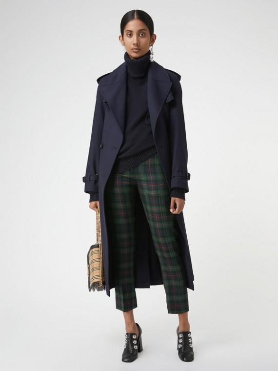 Pantalones en mezcla de lana a cuadros con detalle de cremalleras (Azul Marino)
