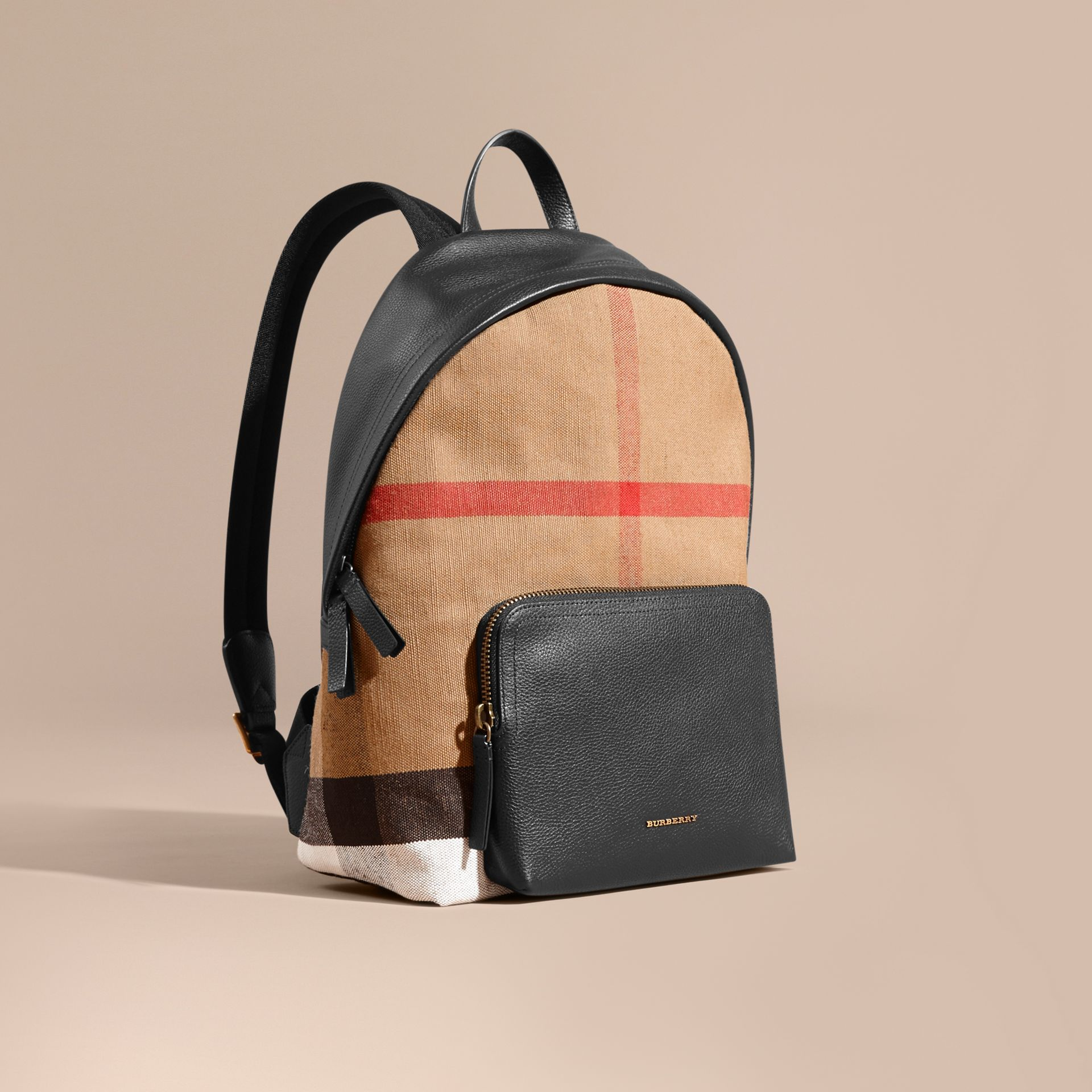 Canvas Check and Leather Backpack - gallery image 1