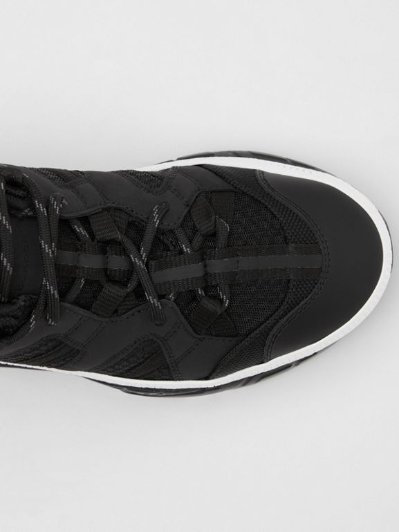 Monogram Motif Mesh and Nubuck Sneakers in Black - Women | Burberry - cell image 1