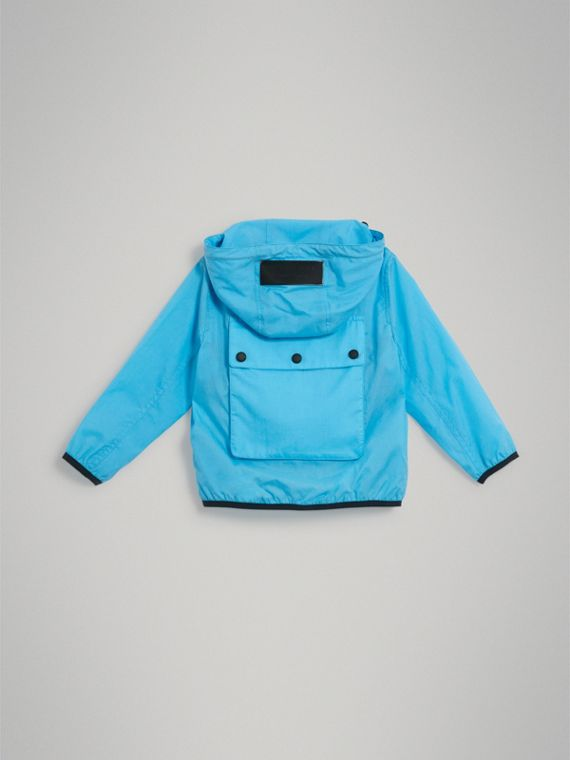 Showerproof Hooded Jacket in Bright Turquoise - Boy | Burberry Canada - cell image 3
