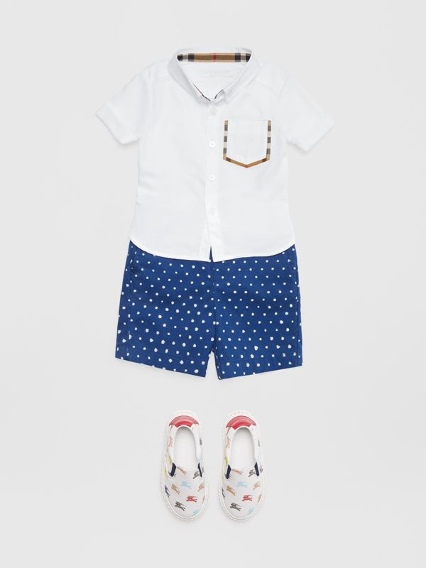 Short-sleeve Check Detail Cotton Oxford Shirt in White - Children | Burberry - cell image 2