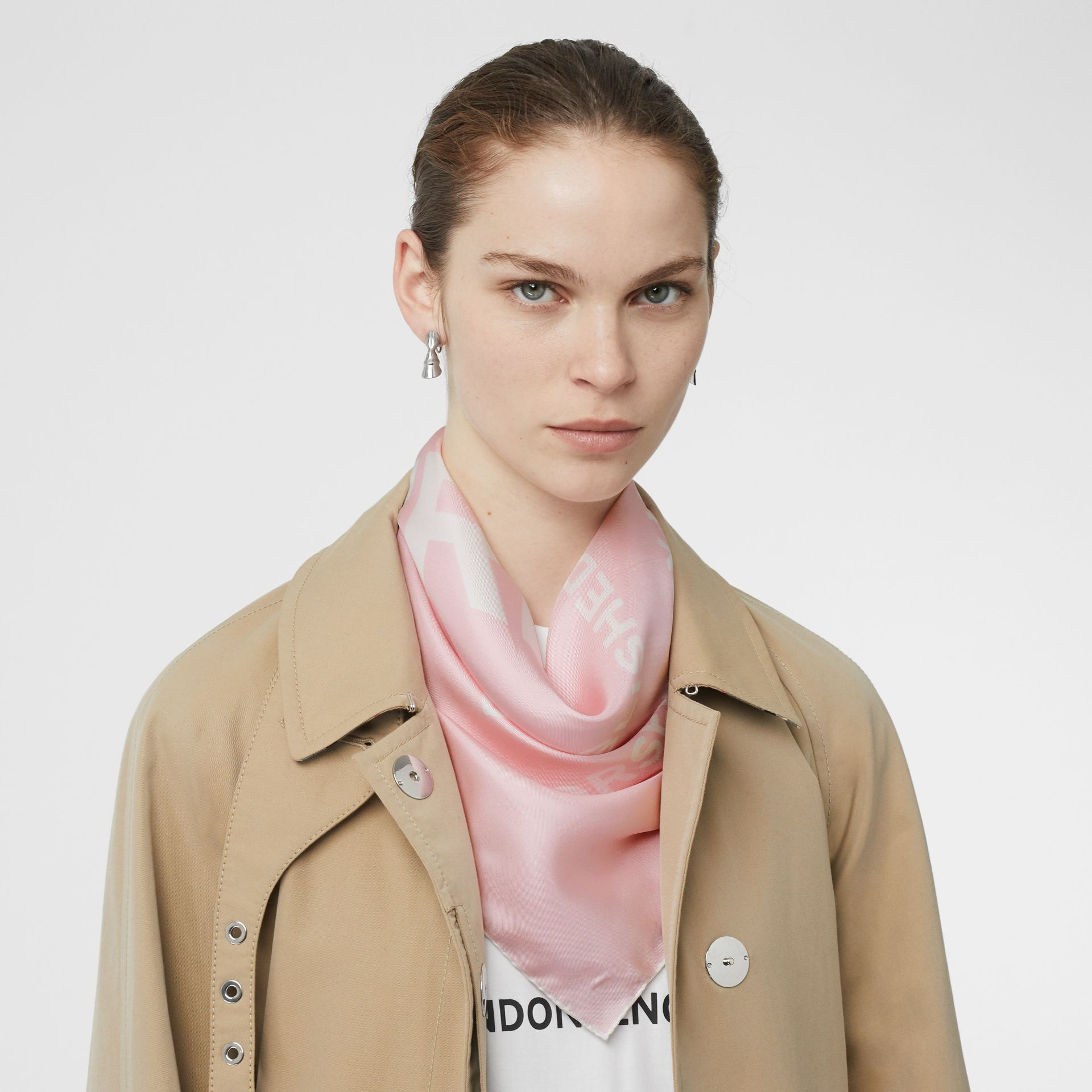 Horseferry Print Silk Square Scarf in Pink | Burberry United States - gallery image 2