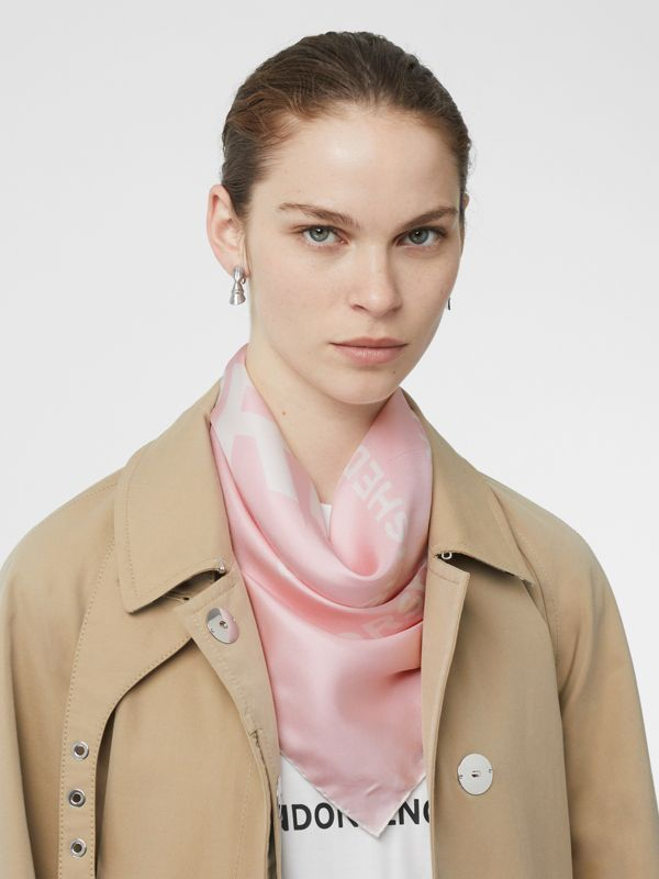 Horseferry Print Silk Square Scarf in Pink | Burberry United States - cell image 2