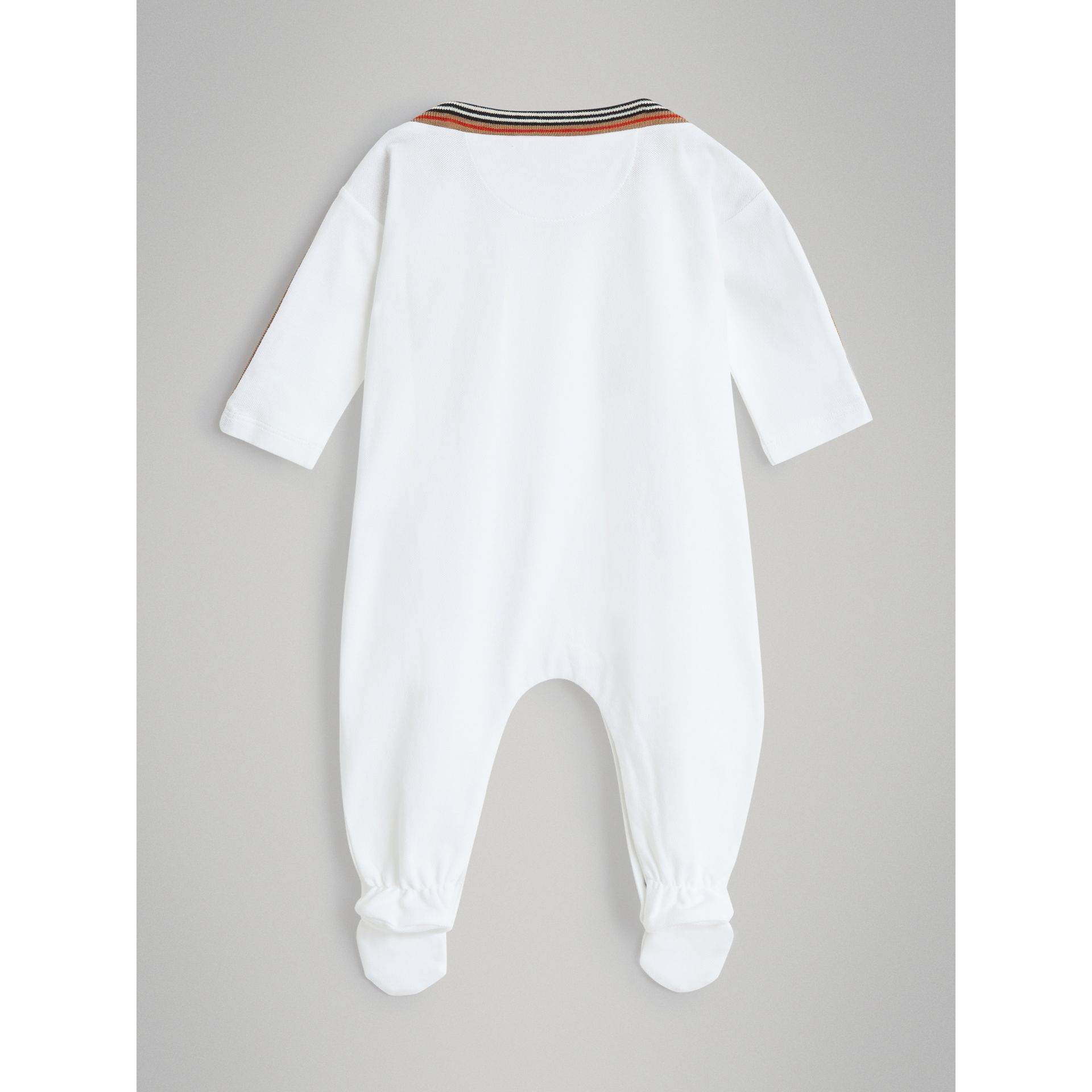 Heritage Stripe Cotton Piqué Two-piece Baby Gift Set in White - Children | Burberry - gallery image 3