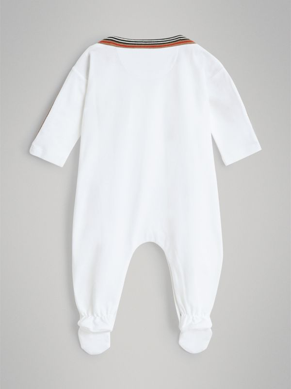 Icon Stripe Cotton Piqué Two-piece Baby Gift Set in White - Children | Burberry Hong Kong - cell image 3