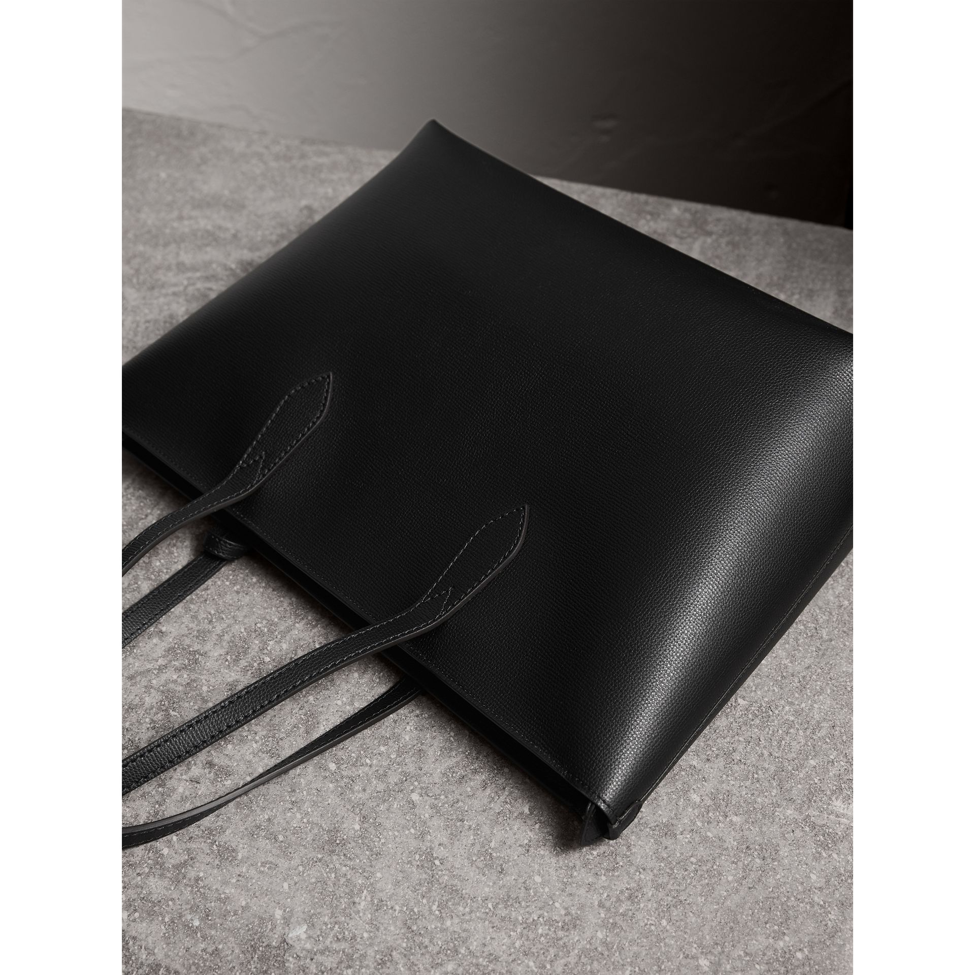 Medium Coated Leather Tote in Black - Women | Burberry - gallery image 3