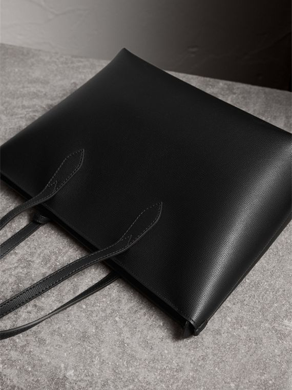Medium Coated Leather Tote in Black - Women | Burberry United Kingdom - cell image 2