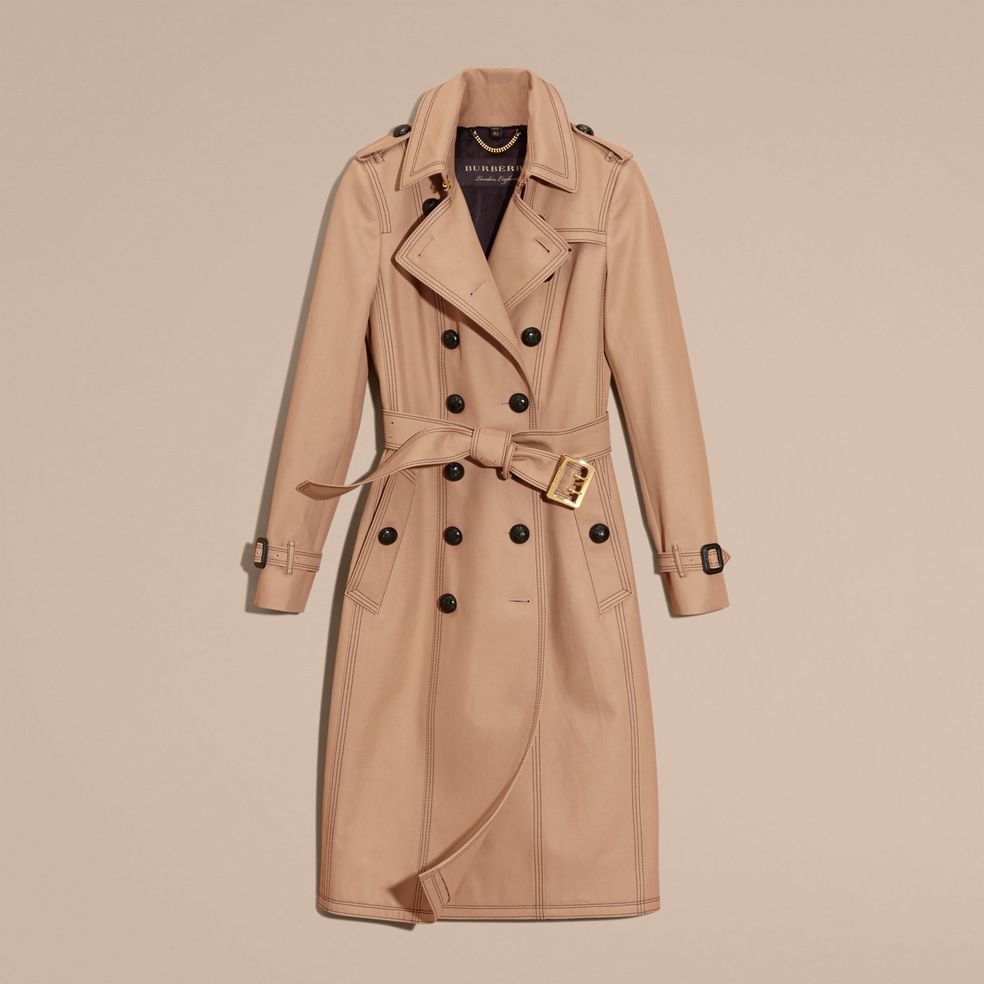 Honey Slim Fit Cotton Trench Coat with Topstitching - gallery image 4