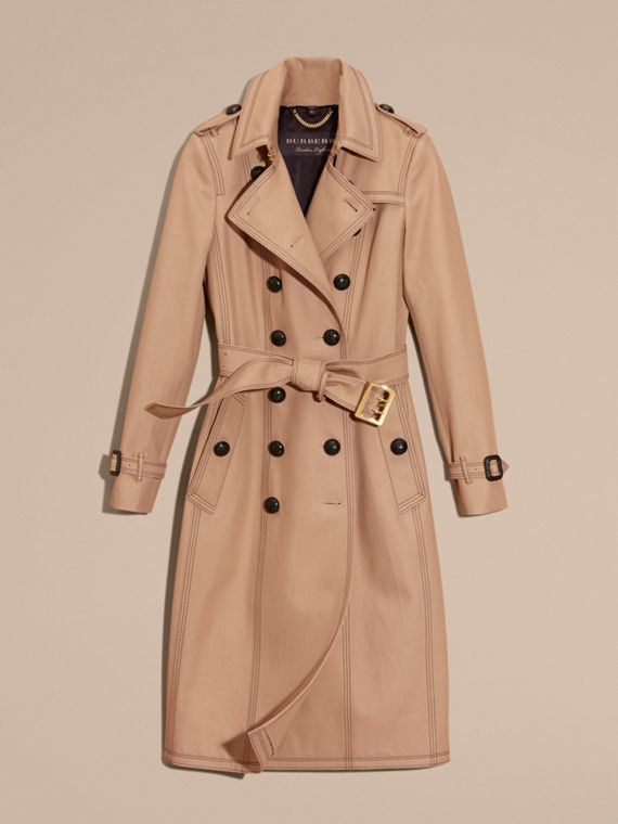 Honey Slim Fit Cotton Trench Coat with Topstitching - cell image 3