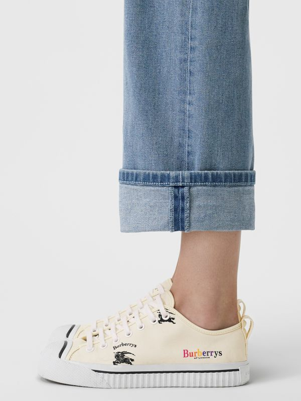 Archive Logo Cotton Sneakers in Off White - Women | Burberry United States - cell image 2
