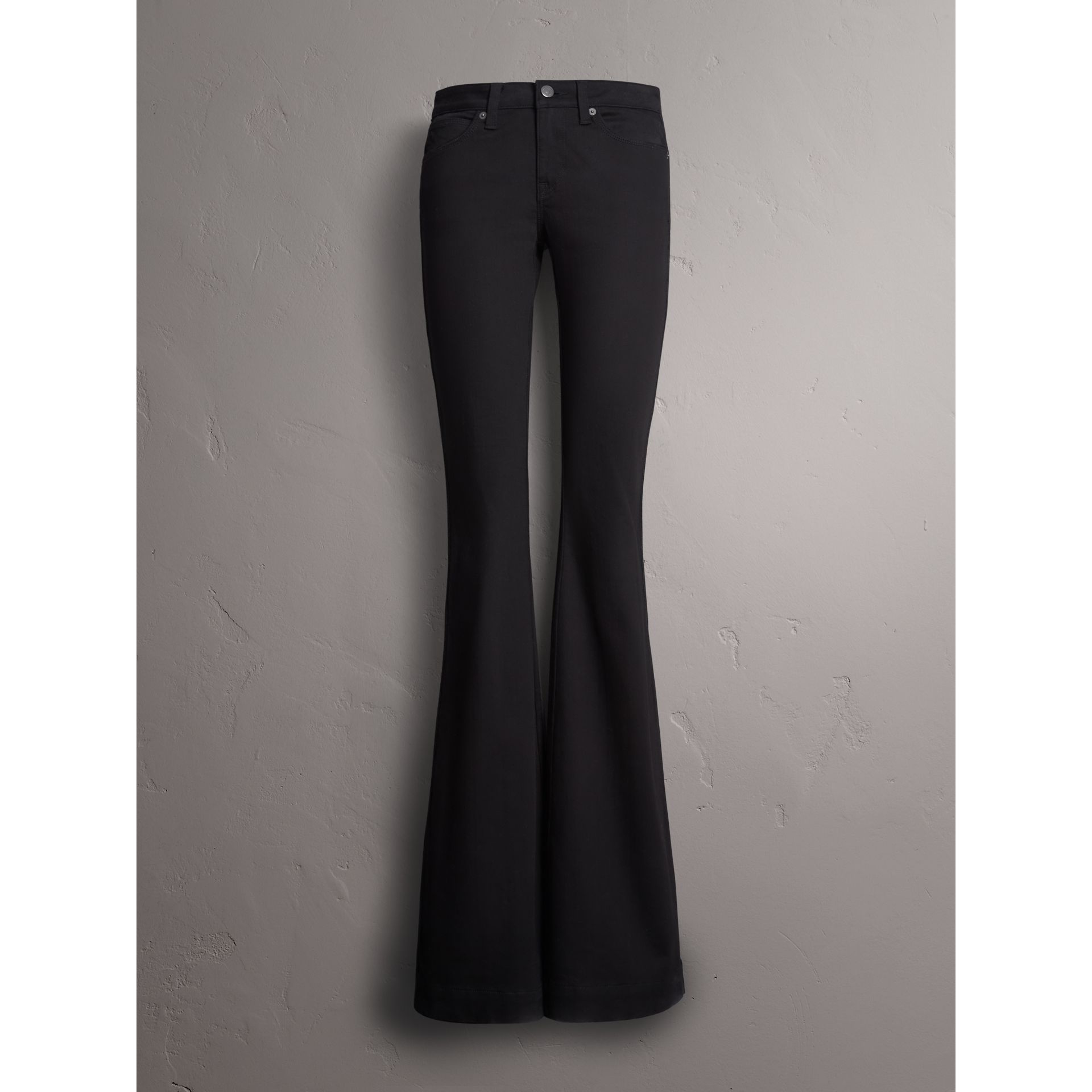 Flared Stretch Jeans in Black - Women | Burberry Canada - gallery image 3