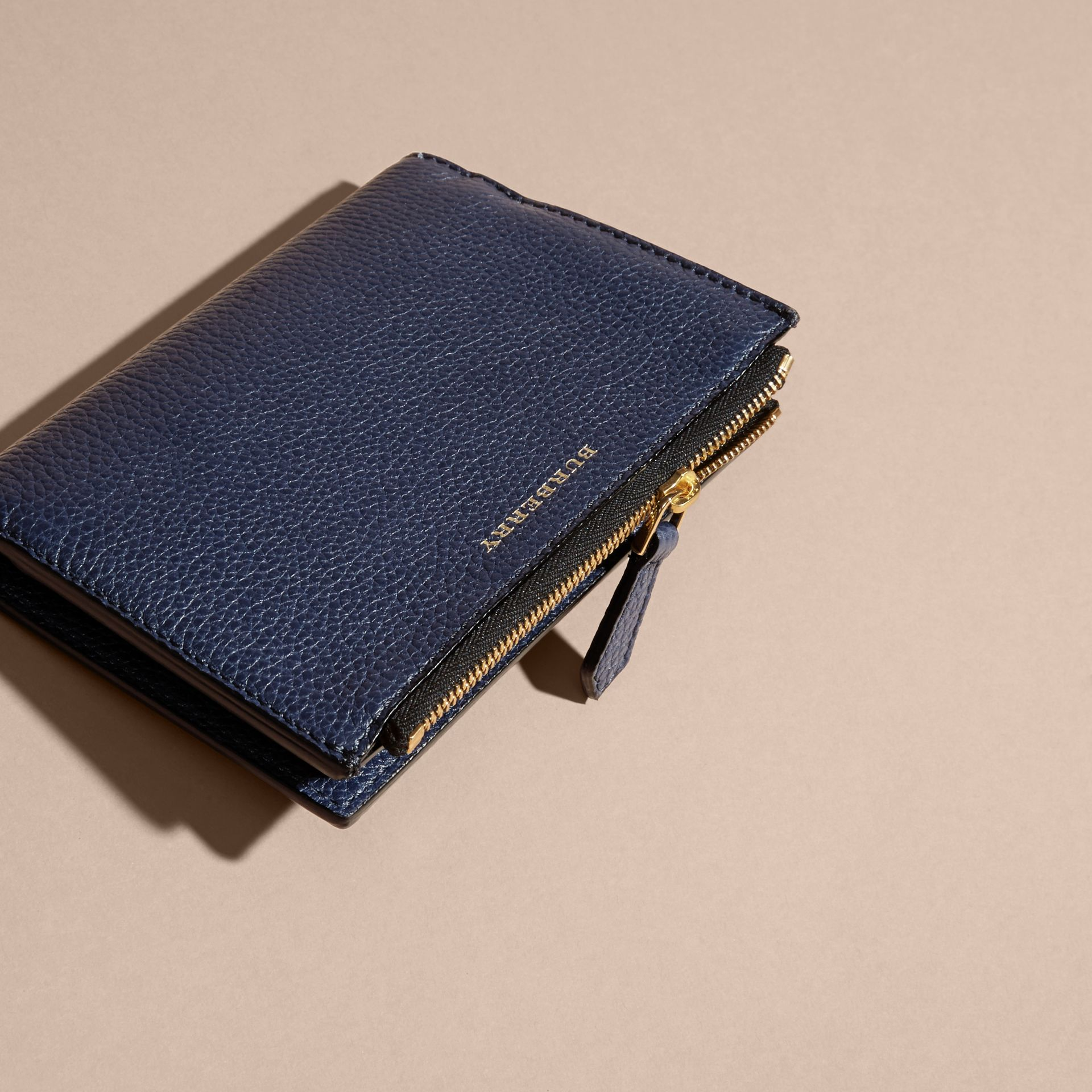 Leather Passport Wallet in Bright Navy | Burberry - gallery image 3
