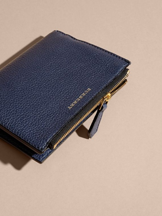 Leather Passport Wallet in Bright Navy | Burberry - cell image 2