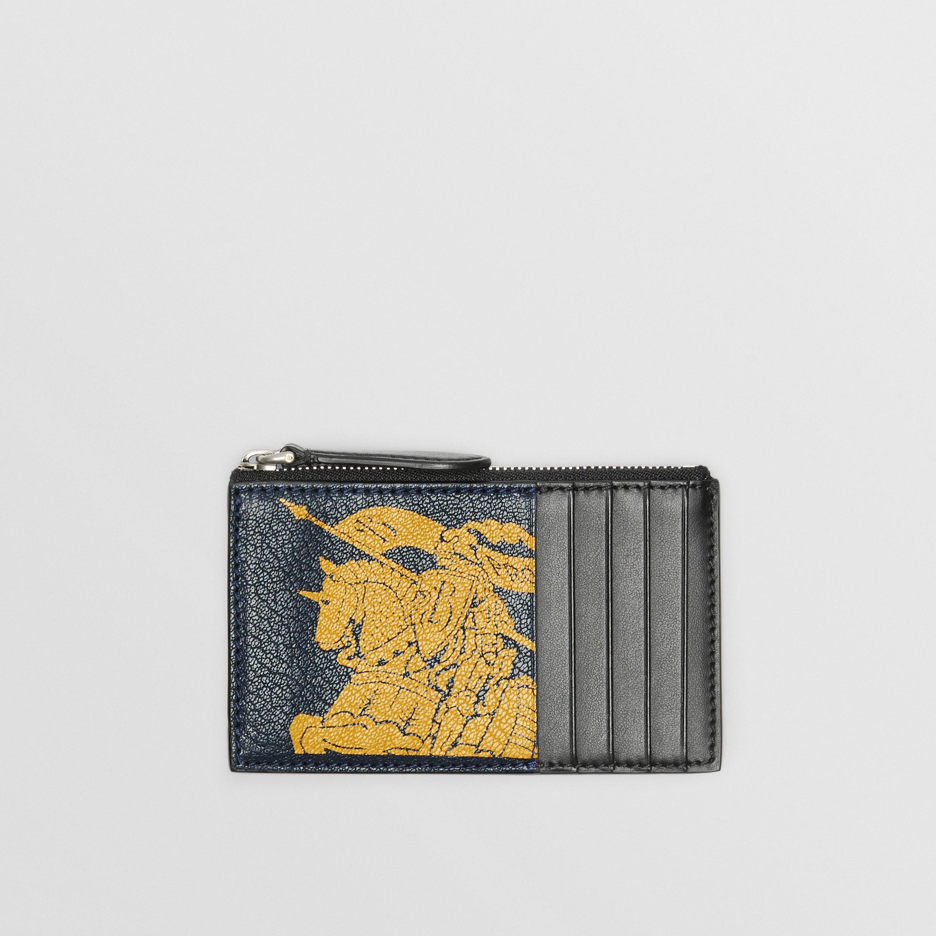 Logo Print Leather Zip Card Case in Storm Blue - Men | Burberry Australia - gallery image 0