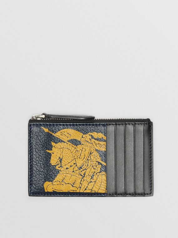 Logo Print Leather Zip Card Case in Storm Blue