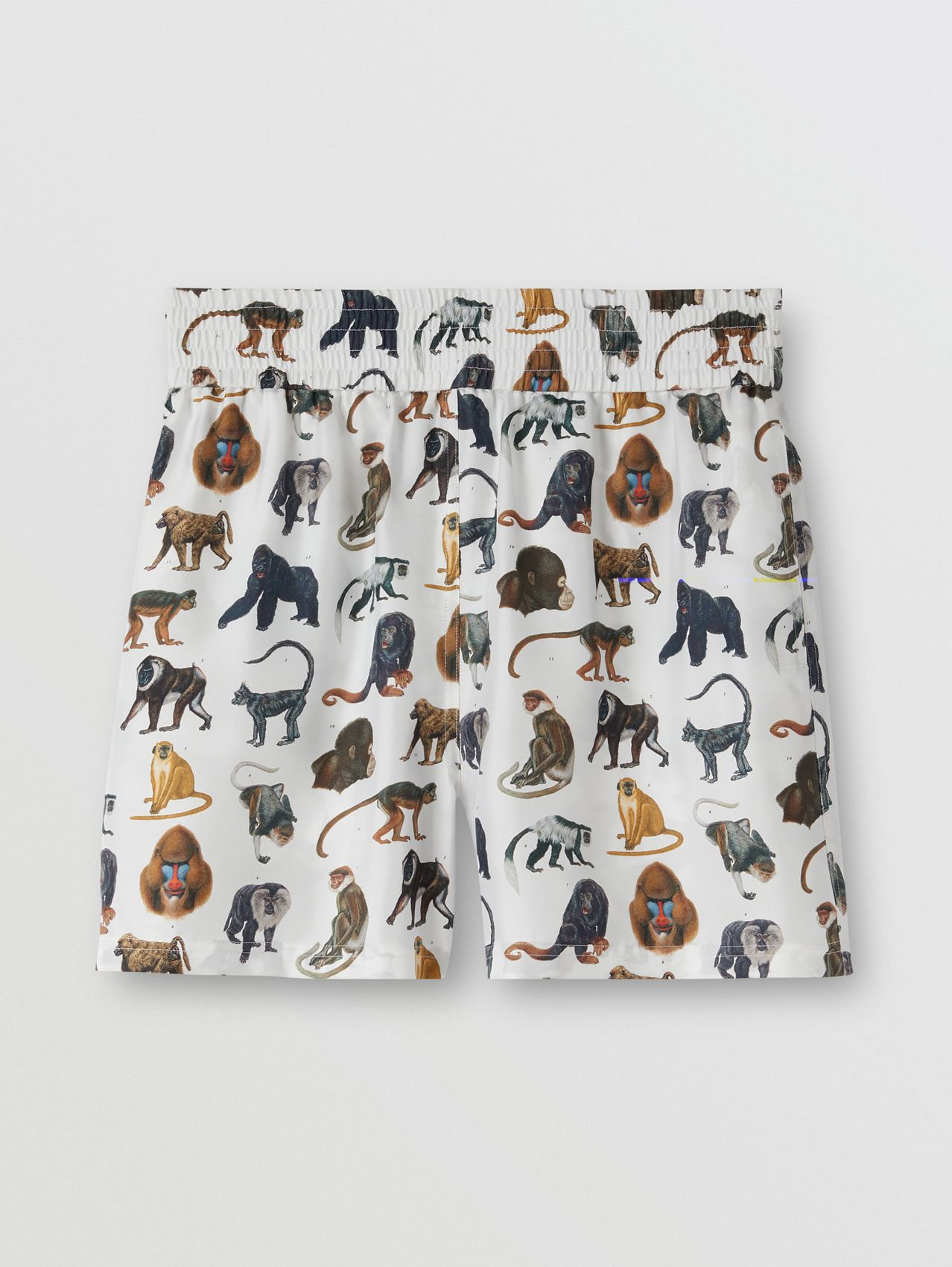Monkey Print Silk Twill Shorts in Optic White