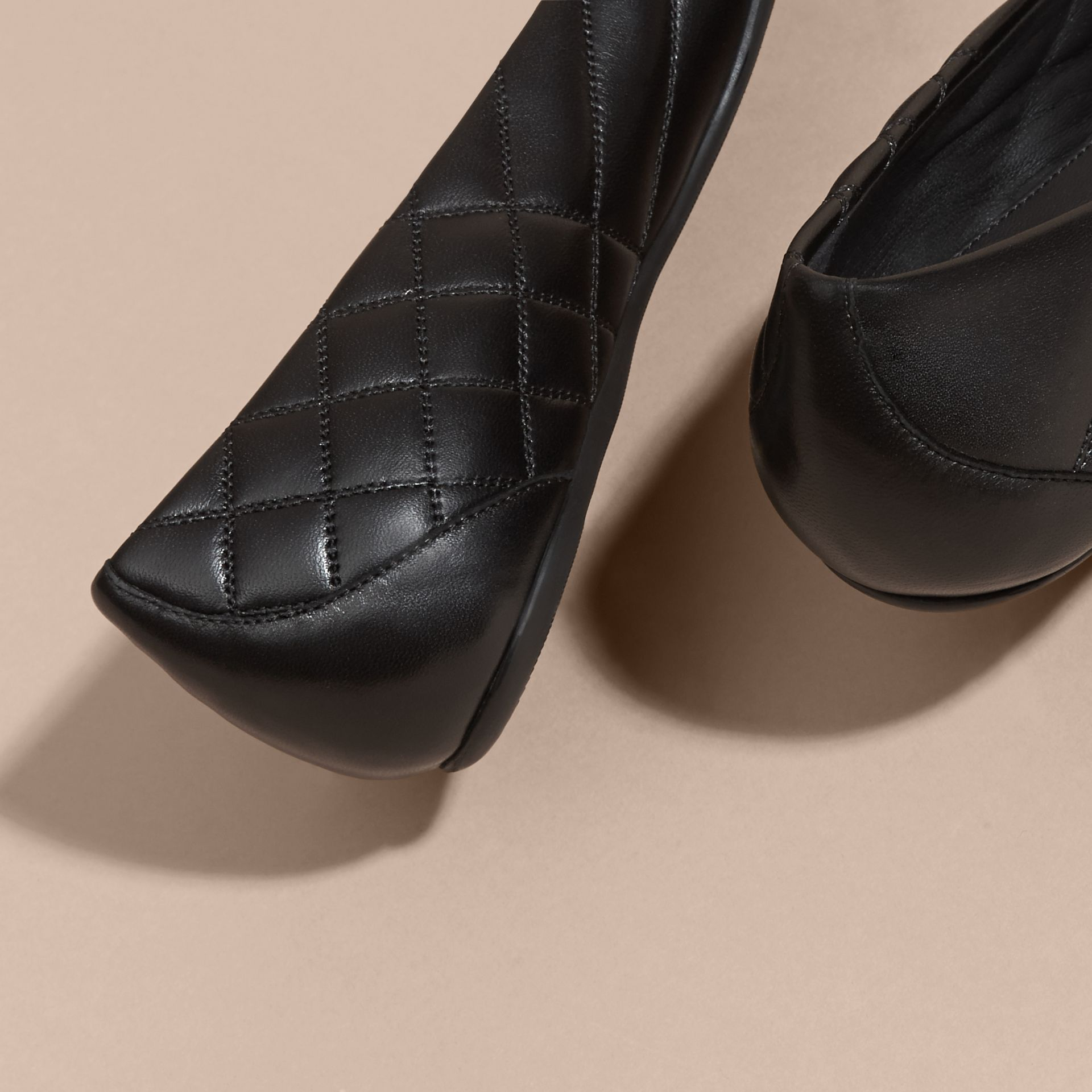Black Buckle Detail Quilted Lambskin Ballerinas - gallery image 4