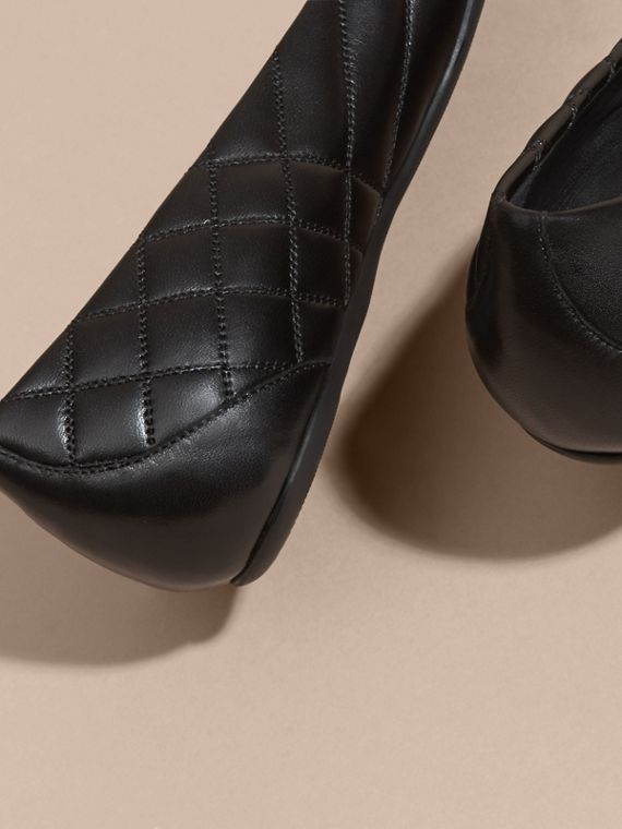 Black Buckle Detail Quilted Lambskin Ballerinas - cell image 3