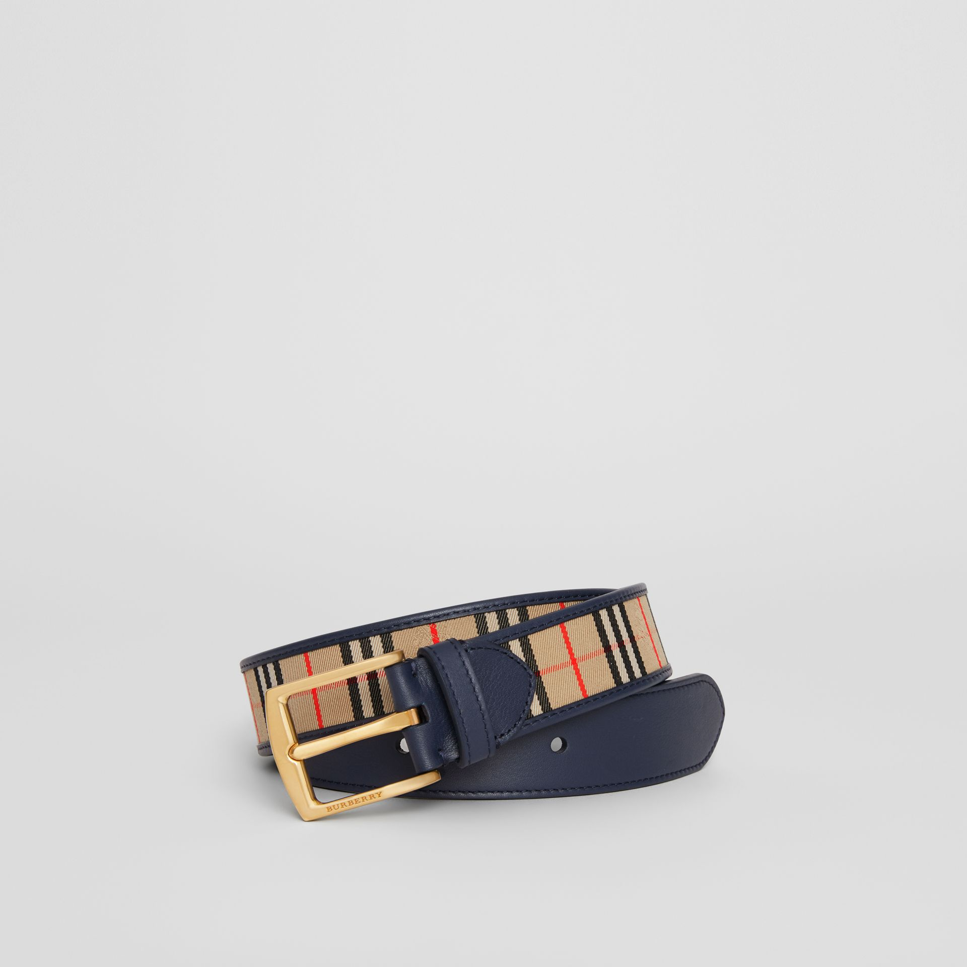 1983 Check and Leather Belt in Ink Blue - Men | Burberry - gallery image 0