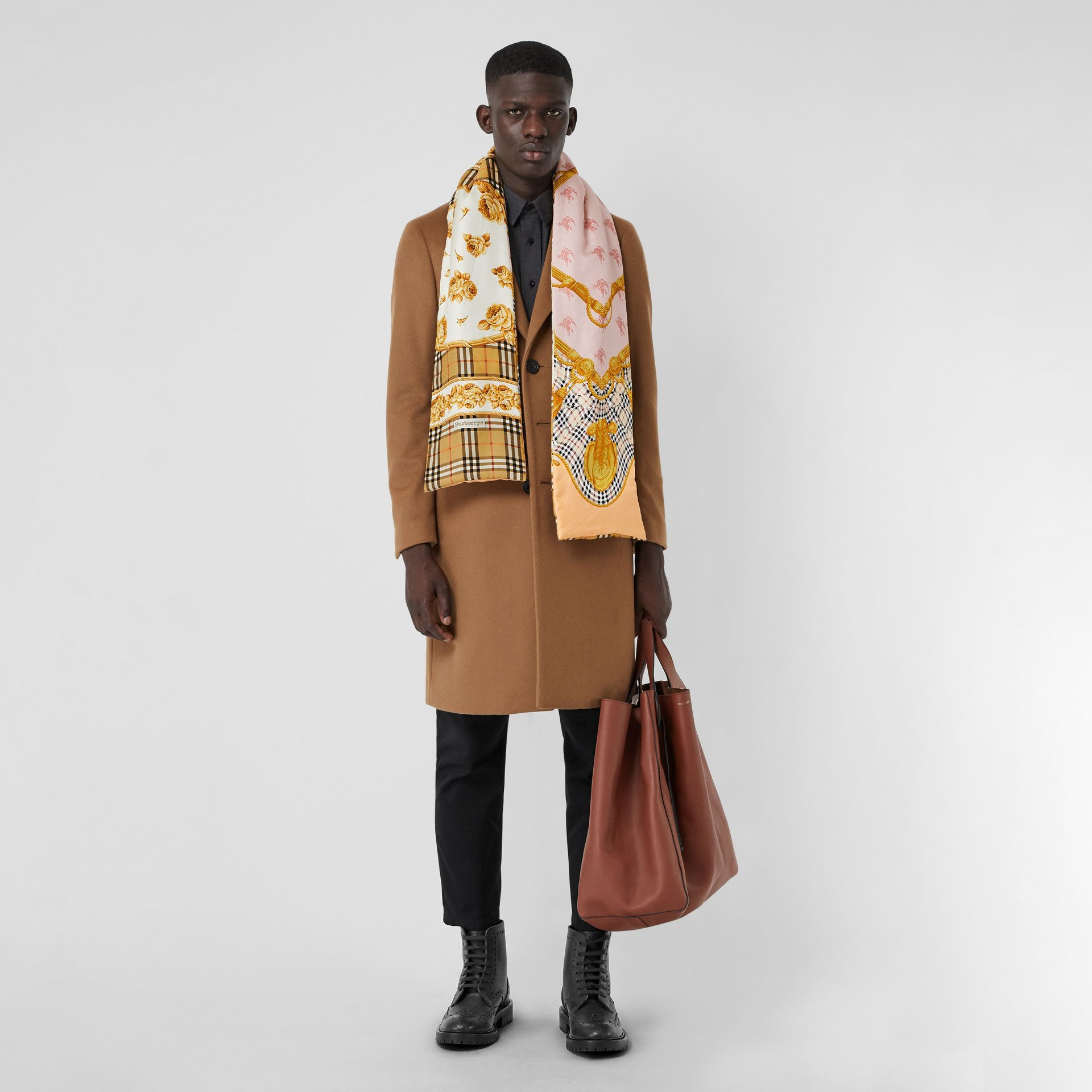 Archive Scarf Print Silk Puffer Scarf in Multicolour | Burberry - gallery image 3