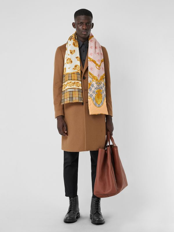 Archive Scarf Print Silk Puffer Scarf in Multicolour | Burberry - cell image 3