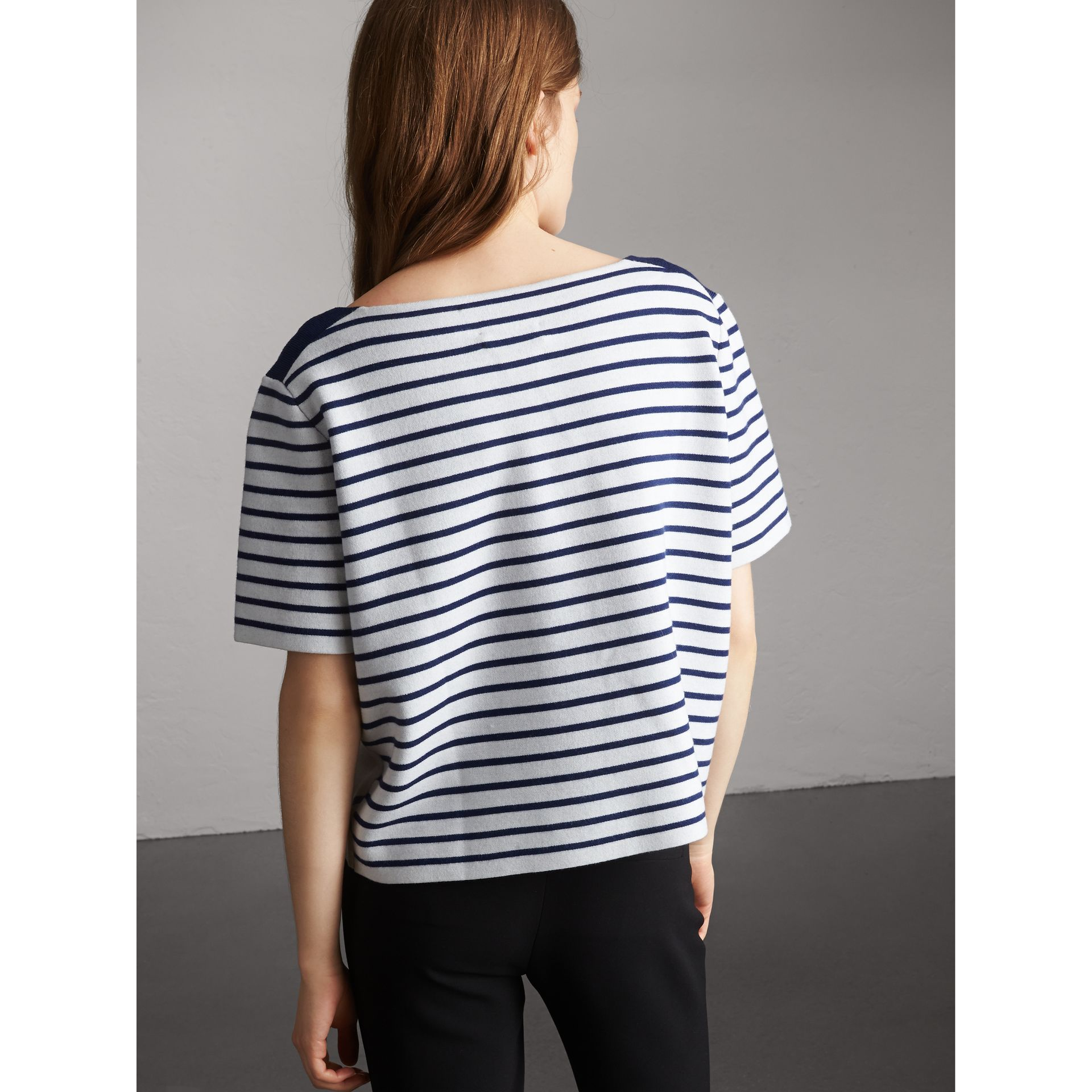 Check and Stripe Knitted Wool Blend T-shirt in Bright Navy - Women | Burberry United Kingdom - gallery image 3