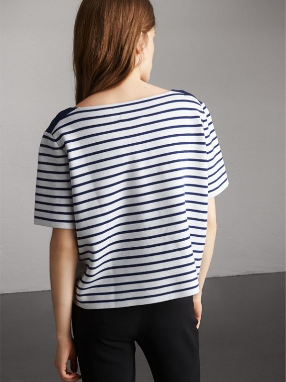 Check and Stripe Knitted Wool Blend T-shirt in Bright Navy - Women | Burberry United Kingdom - cell image 2