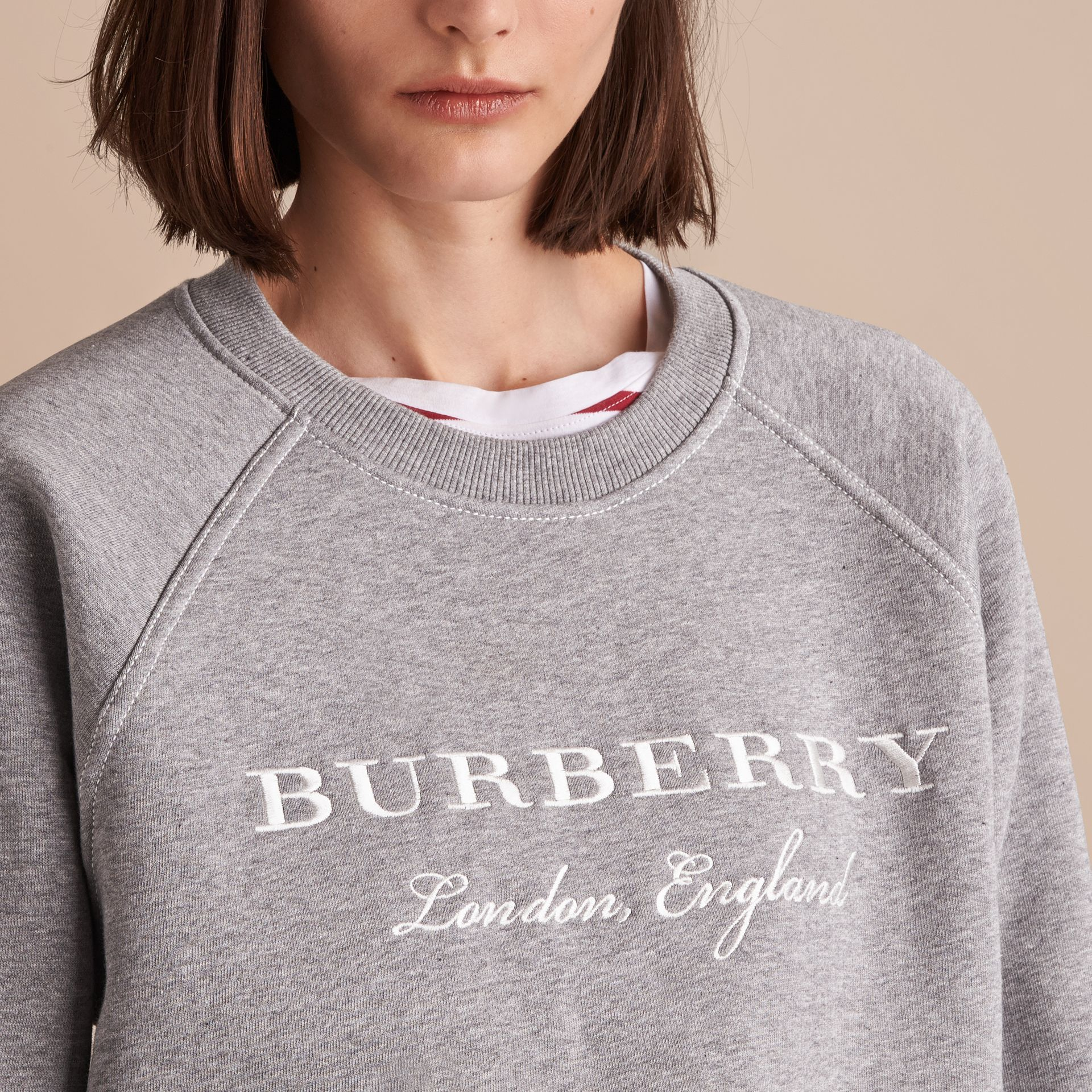 Embroidered Cotton Blend Jersey Sweatshirt in Pale Grey Melange - Women | Burberry - gallery image 5