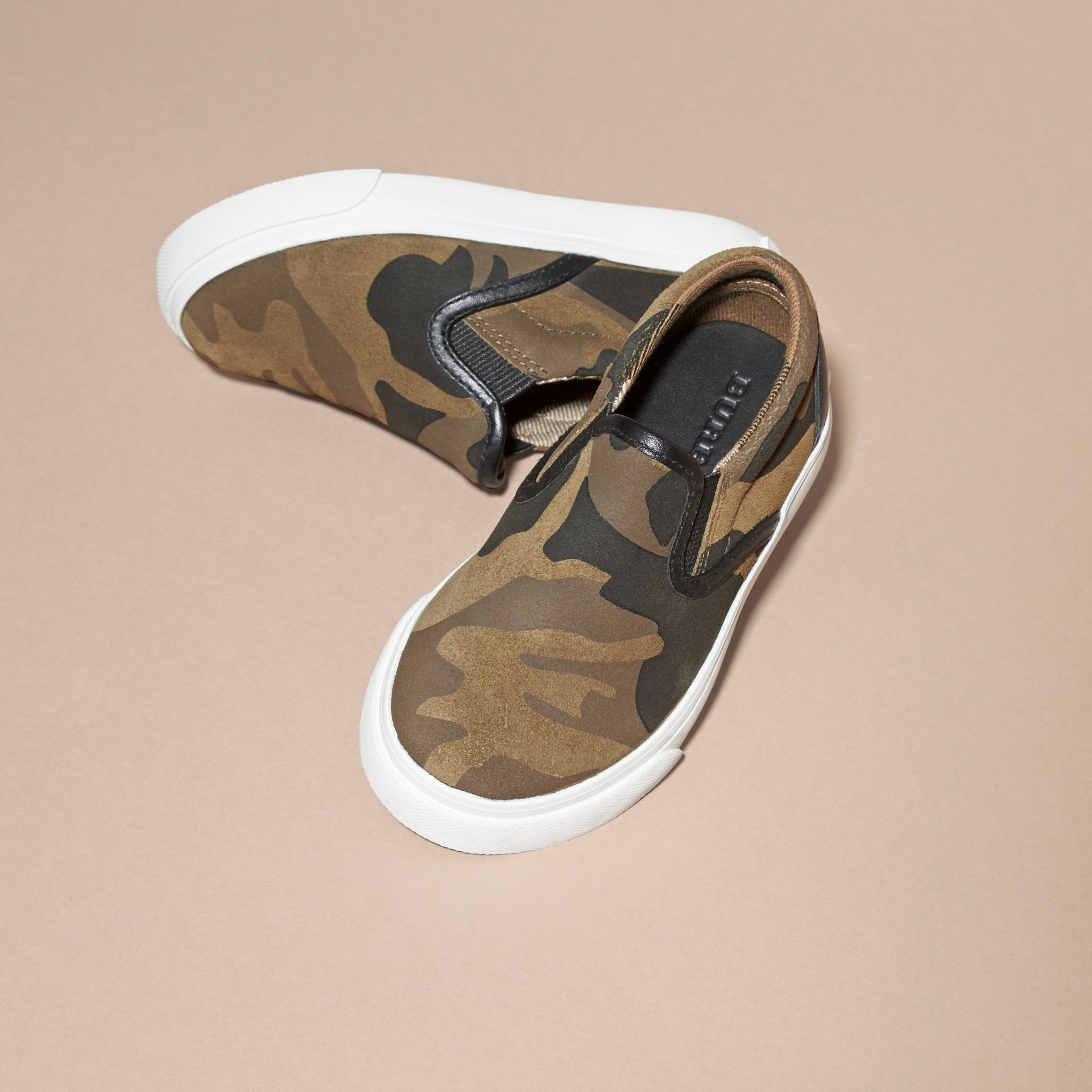Dark green ochre Camouflage Print Suede Slip-on Trainers - gallery image 3