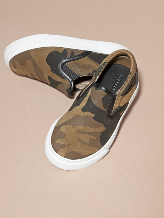 Dark green ochre Camouflage Print Suede Slip-on Trainers - cell image 2