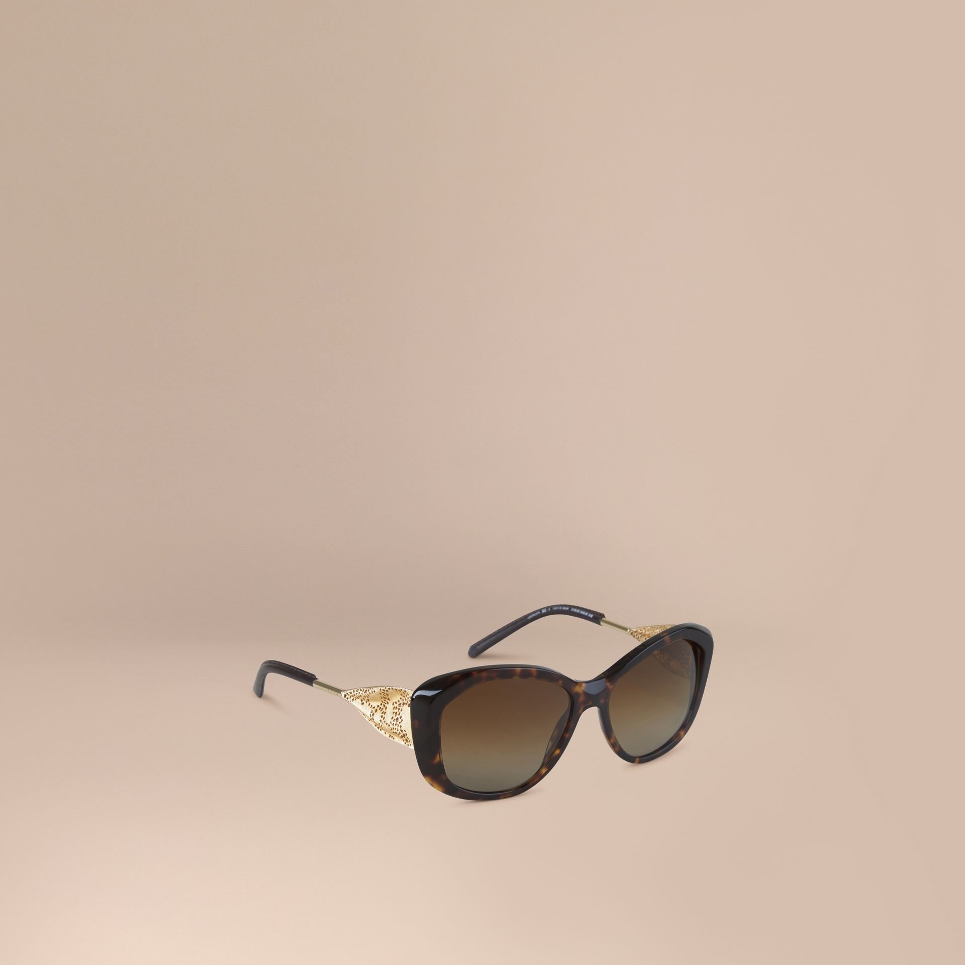 Gabardine Lace Collection Square Frame Sunglasses in Tortoise Shell - gallery image 1