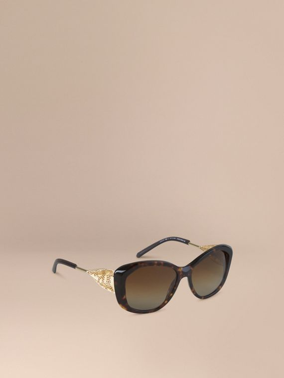 Gabardine Lace Collection Square Frame Sunglasses Tortoise Shell
