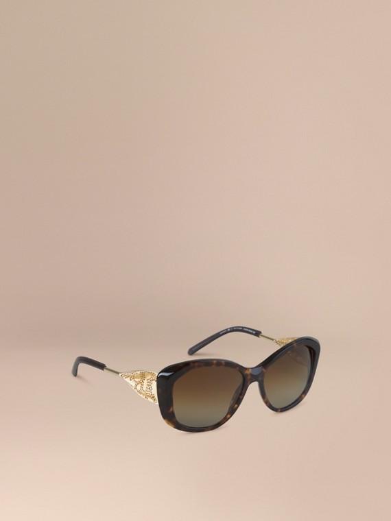 Sonnenbrille mit eckigem Gestell aus der Gabardinespitze-Kollektion Schildpattfarben