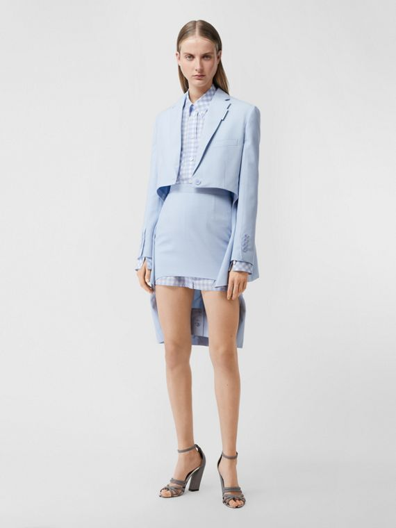 Wool Canvas Step-through Pencil Skirt in Pale Blue