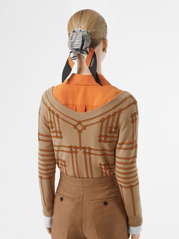 Rope Silk Wool Jacquard V-neck Sweater in Honey - Women | Burberry - cell image 2
