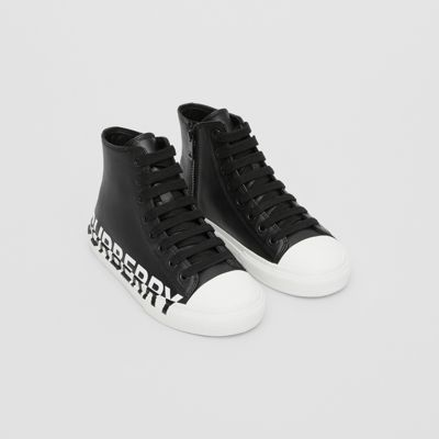 Logo Print Two-tone Leather High-top