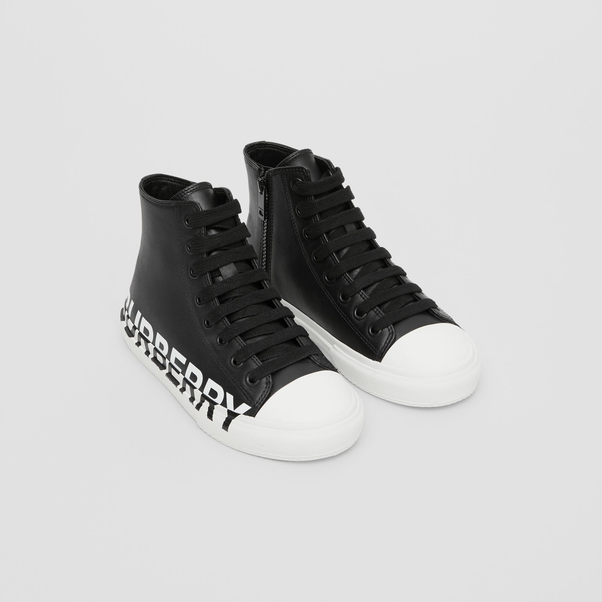 Logo Print Two-tone Leather High-top Sneakers in Black/optic White - Children | Burberry United States - gallery image 0