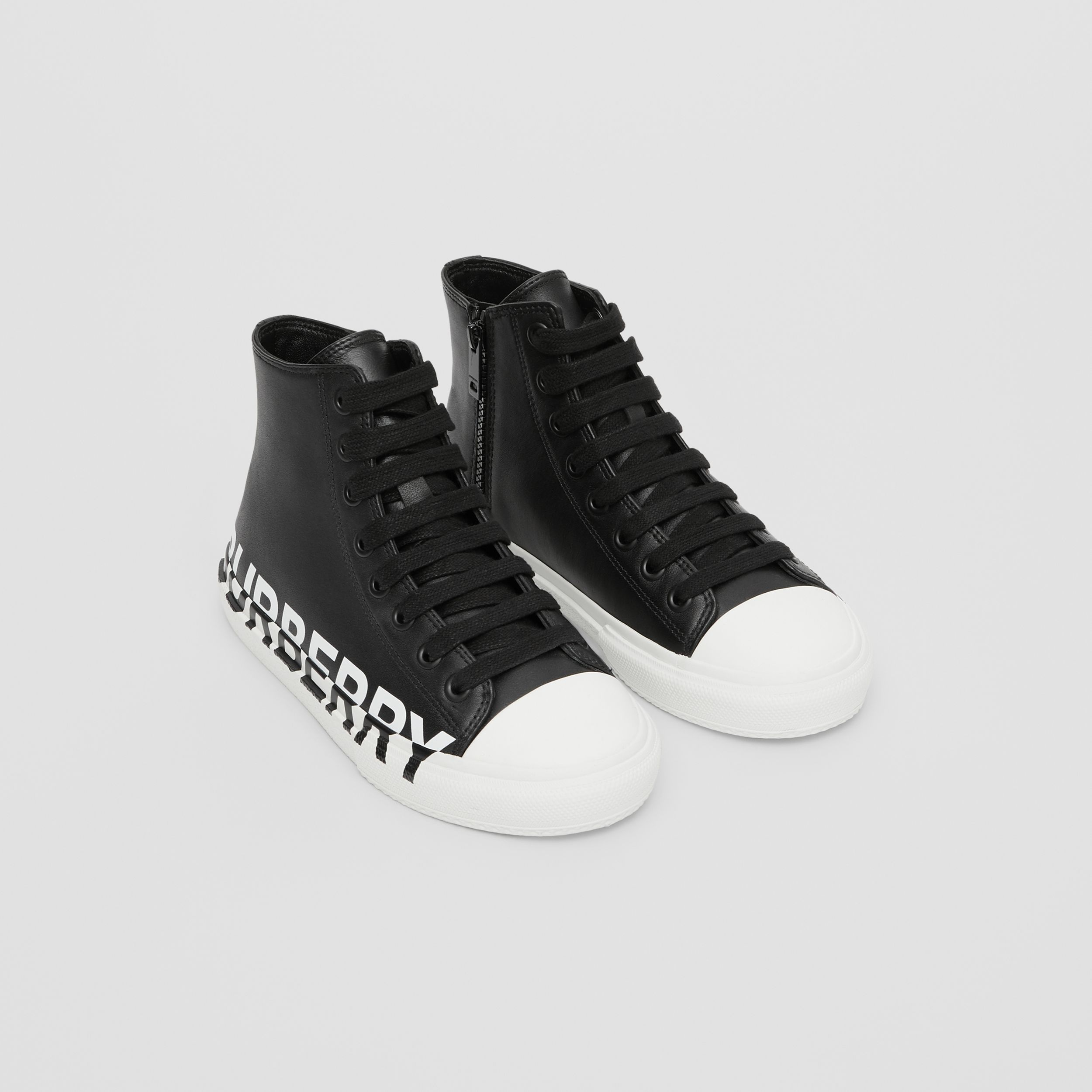 Logo Print Two-tone Leather High-top Sneakers in Black/optic White - Children | Burberry - 1
