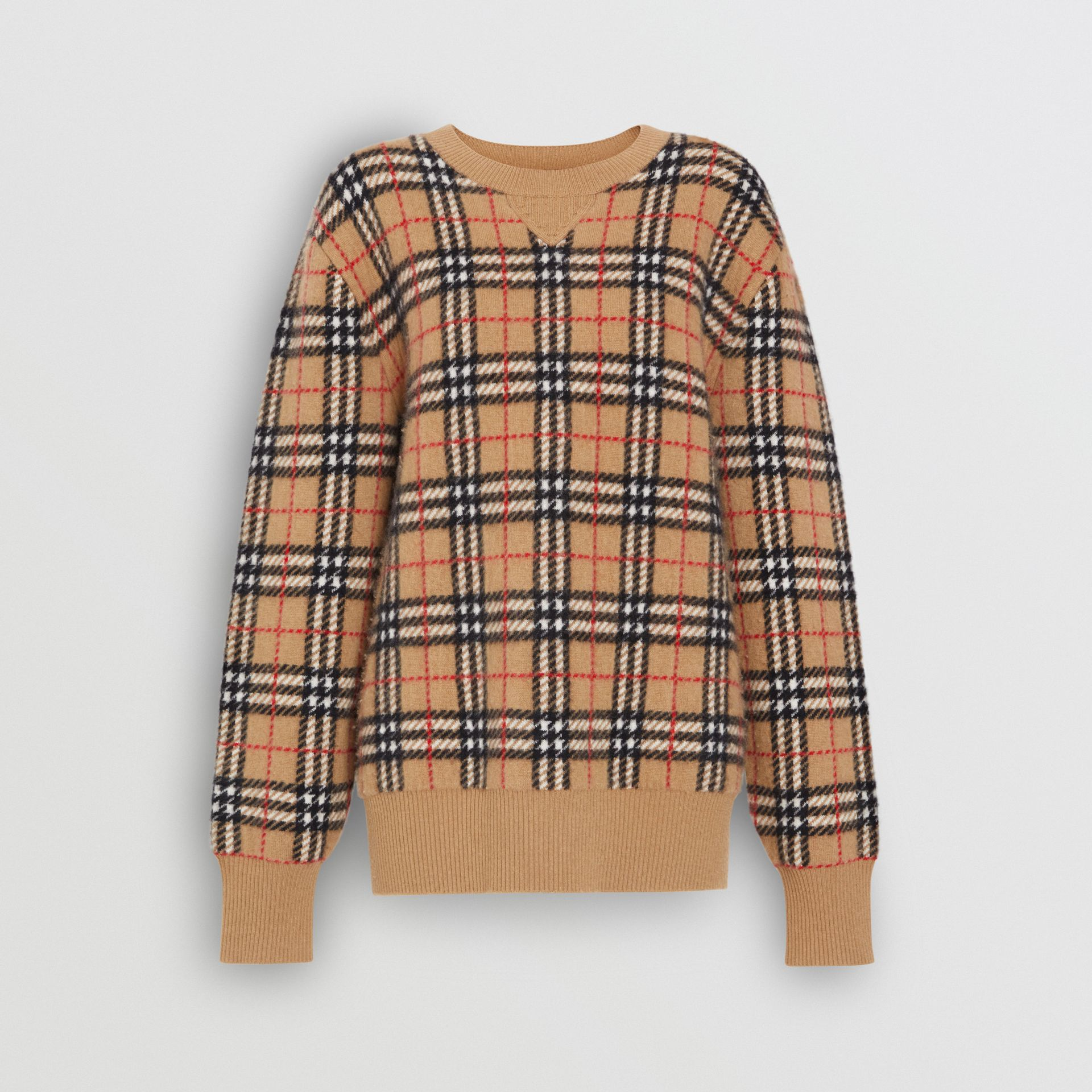 Vintage Check Cashmere Jacquard Sweater in Camel - Women | Burberry - gallery image 3