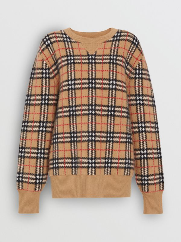 Vintage Check Cashmere Jacquard Sweater in Camel - Women | Burberry United Kingdom - cell image 3