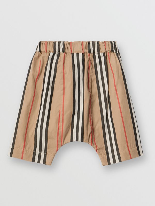 Icon Stripe Cotton Poplin Trousers in Archive Beige - Children | Burberry - cell image 3