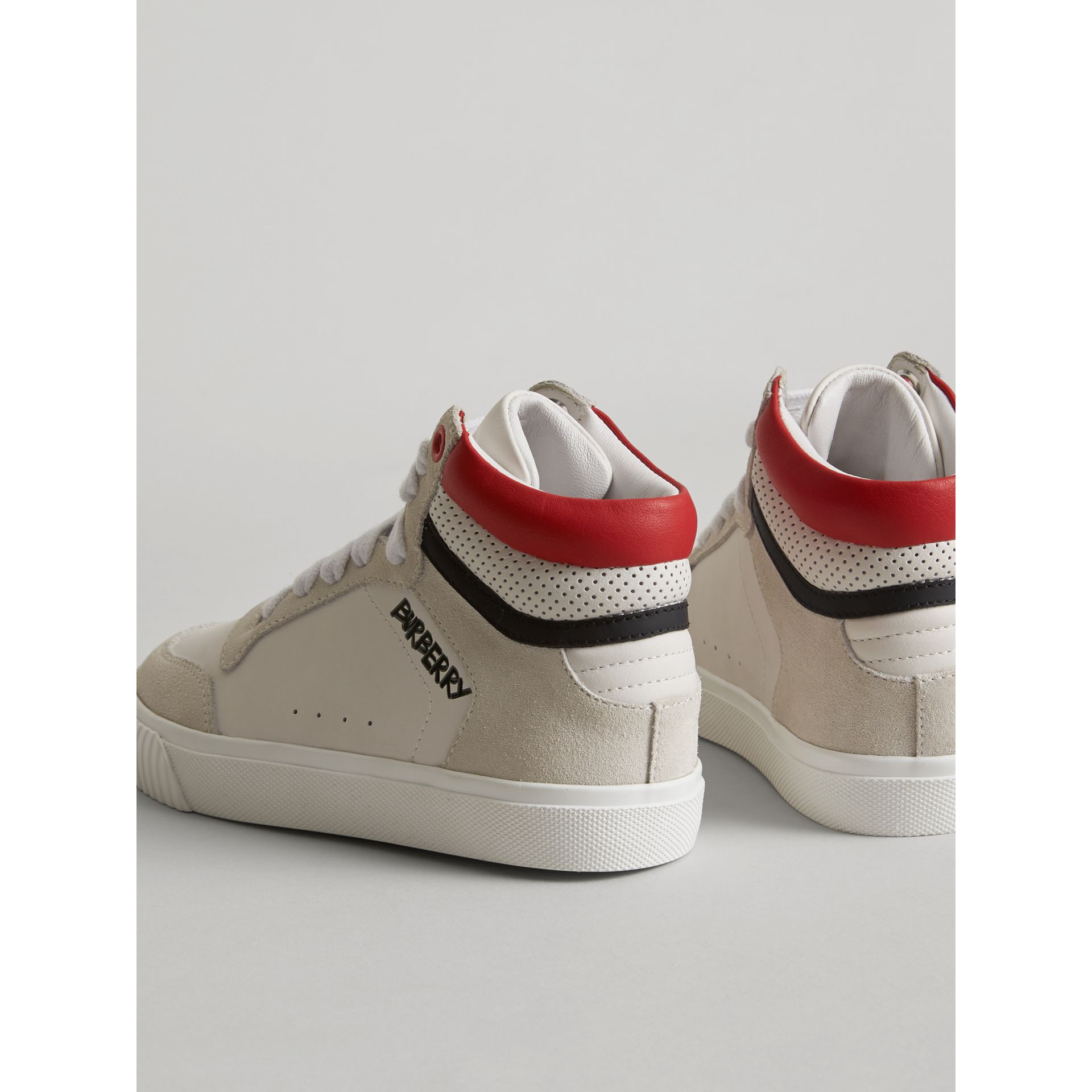 Leather and Suede High-top Sneakers in Optic White | Burberry United Kingdom - gallery image 3